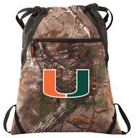 Miami Canes Camo Cinch Pack REALTREE University of Miami Drawstring Bag Backpack