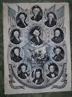 1844 Presidents Of The United States Nathaniel Currier Early Print VG