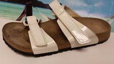 Birkis Birkenstock White Patent Leater 2 Str Sandals Slides Shoes Women's 39/L8