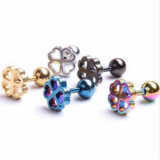 1 Pair 16G Four Leaf Clover Ear Cartilage Tragus Helix Stud Earring Body Jewelry