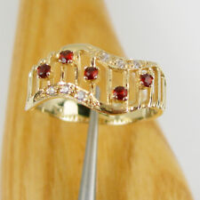 Nature Garnet & White CZ Gems Wide Band Ring Genuine 375 9k Yellow Gold - R3127