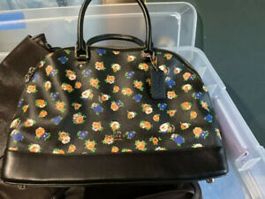 Coach Leather Large Sierra Satchel Hand Bag Flower