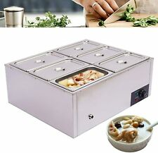 Commercial Food Warmer Bain Marie Steam Table Countertop 6 Pots Soup Station