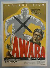 AWAARA Indian Raj Kapoor musical RARE ORIGINAL YUGOSLAVIAN 1951 Movie Poster