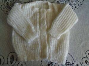 New Hand Knitted White Cardigan 6/12 months