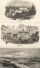 GERMANY: Madrid; Magdeburg; Manchester- from the North- West; old print 1870