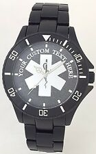 BLACK ALUMINUM EMS/EMT WATCH-PERSONALIZED STAR OF LIFE MEDALLION DIAL - NEW