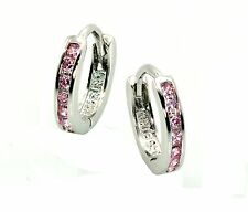 PINK SAPPHIRE (OCT GEM) HUGGIES FOR BABY'S .925 STERLING SILVER (Watch video