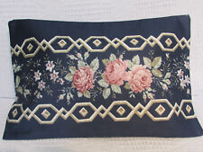 Luxury Cushion Cover, Floral, Navy Blue, Roses, Pinks, Leaves, Greens. Vintage.