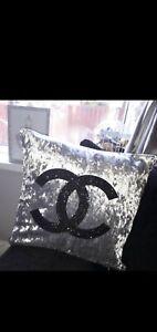 2x Glitter sparkle black silver metalic Cushion Covers 18x18 crushed velvet