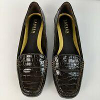 LRL Ralph Lauren Brown Embossed Croc Loafers Slip On Driving Shoes Moc Toe Sz 7