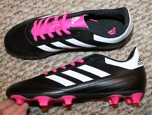 New! Girls Adidas Goletto 6 Firm Ground Soccer CLEATS (Black/White) - Size 5.5 Y