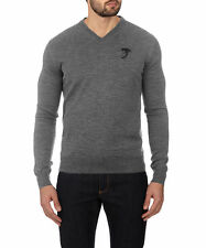 Versace Herren Wool V neck Sweater Gray Medium NWT $450