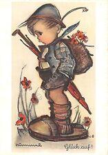 Cartolina - Postcard - Illustrata - B. Hummel - Bambino con zaino - n. 4656