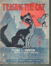 Teasing The Cat 1916 Large Format Sheet Music
