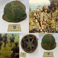 Rare Vietnam 'Saigon 101st Airborne Vietcong Card' & 1965 M1 Salty Helmet Relic