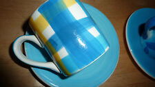 WHITTARD Espresso Coffee Cup Saucer BLUE YELLOW Set Modern Retro Gourmet FAB!!!!