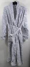 Women's Bath Robe Size XL Plush Long Zebra Animal Print gray white