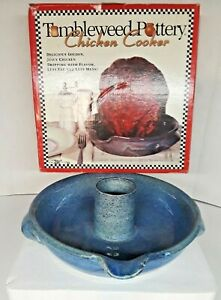 Tumbleweed Pottery Upright Dixie Chicken Cooker/Bundt Pan Cobalt Blue Stoneware