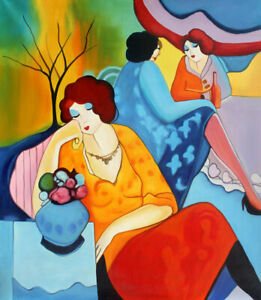 Itzchak Tarkay Oil Painting Figures Lady Women Art Home Decor Printed on Canvas