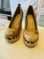 ALDO ELIDA Floral Brown Espadrille Studded Platform Wedge Heel Shoes UK 4