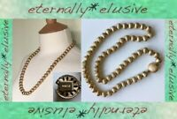 Signed MONET Vintage Jewellery Brushed Gold Tone Round Bead Chain Long Necklace