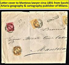 1891 Letter cover to Mantova lawyer from Milano geography publisher Sacchi. (28)