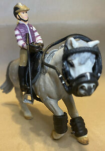 Schleich Farm Life #13298 Grey Riding Pony & #42039 Pony Riding Set RETIRED