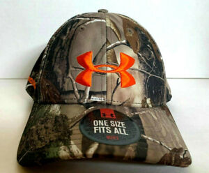 NEW! Under Armour Mens Camo GOLF Adjustable Cap-Realtree Camo/Orange OSFA