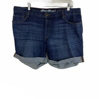 Eddie Bauer Blue Dark Wash Cuffed Mid Rise Stretch Boyfriend Shorts Size 14