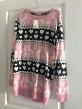 Ladies NEW Sweater Dress Pink Xmas theme Size 8 Miss Selfridge