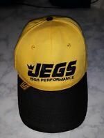 JEGS HIGH PERFORMANCE Racing Hat Yellow Black Mens Baseball Cap Snapback NWOT  L