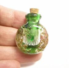 1 handmade murano style glass lampwork flower perfume corked bottle charm-5959c