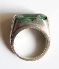 Bague ancienne en ARGENT massif et pierre verte bleue Art Deco silver ring