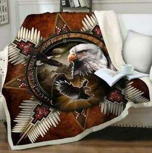 Native Indian Eag 3D Print Sherpa Blanket Travel Couch Quilt Cover Throw Bedding