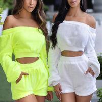 Two-Piece Suit Women Off Shoulder Plush Long Sleeve Elastic Waist Crop Top Short