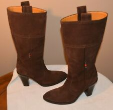 AUTHENTIC Gucci Brown Suede Leather Ladies Boots Stiletto Heel 163311 Size 6B