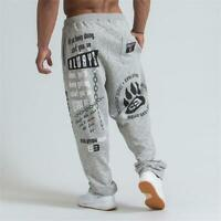 Men's Running Jogging Cotton Soft Bodybuilding Joggers Sweatpants Harem Long Tro