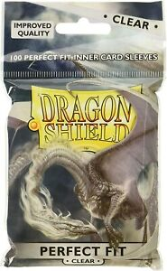 100 Dragon Shield Standard Perfect Fit Sleeves Clear/Clear Pokemon Magic FaB