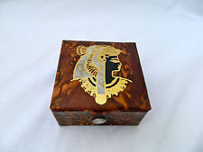 "Egyptian Camel Leather Jewelry Box Queen Cleopatra Deisgn 3.75"" #132"