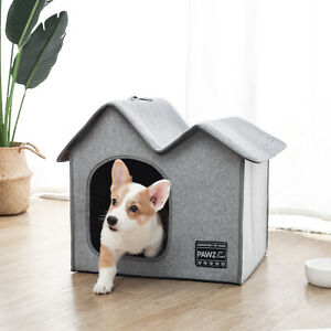 Pet Dog House Kennel Soft Warm Cave Bed Indoor Home Shelter Removable House