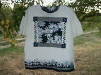 CUTE GARDEN CAPACITY PICTURE TEESHIRT BLOUSE W SHOULDER PADS BL WH MED