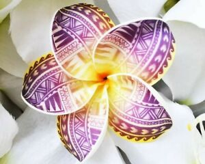 Hawaiian/Island Plumeria Tribal Print Foam Hair Flower w/Stem lakers