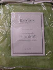 "DownTown Company Cashmere Softâ""¢ Blanket Cotton Blend Sage King Nip"
