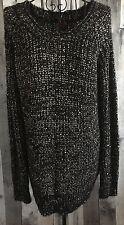 bebe Metallic Sequin Bling Knit Sweater Top Black Silver Long Sleeve Size Medium