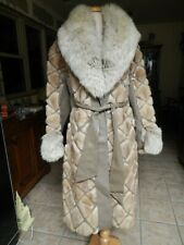 VTG 70's BEAUTIFUL MINK FUR &  LEATHER LONG COAT WITH FOX COLLAR SIZE M