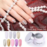 Harunouta 5g Shiny UV Gel Nail Polish Gold Silver Soak Off Nail Art Gel Varnish