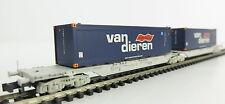 Fleischmann 825315 Doppel-Containerwagen VAN DIEREN der NS OVP, TOP ! (AW0682)