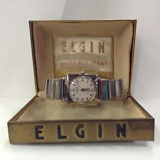 Rare Elgin Self Winding Shock Master Square Stainless Steel Band Watch