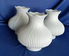 3 Vintage White Milk Glass Pole Lamp Shades Ribbed Ruffled Replacement MCM